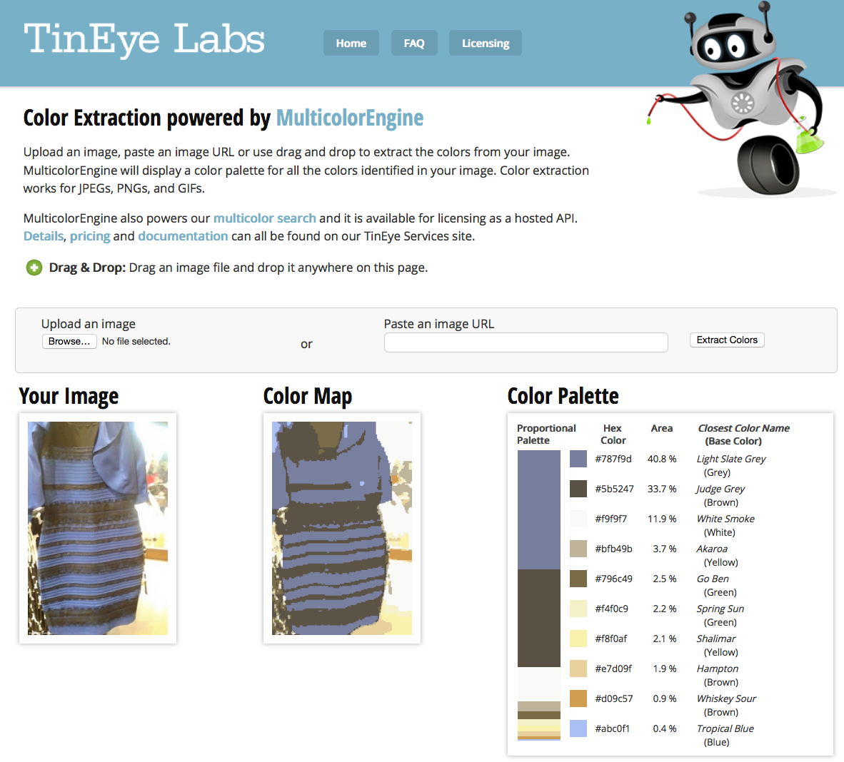What color is #TheDress?TinEye's color algorithm tells you.  http://t.co/GYzstcV3l9 http://t.co/GJXdXRbWQI