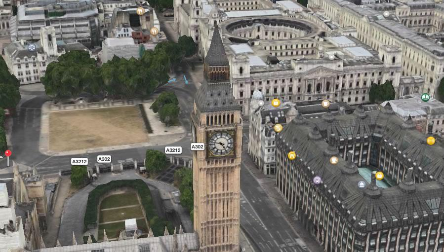 Want to know the time in London? Apple Maps satellite shows the current time on Big Ben. The London Eye spins, too. http://t.co/BrvZSB7YPs
