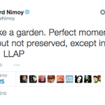 Leonard Nimoys last tweet. He lived long, and prospered. http://t.co/p2Lc0QpNng