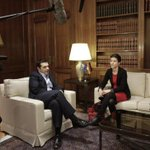 Great pic by @APs @PGiannakouris from meeting of PM Tsipras w/ German Greens @SkaKeller #Greece #Germany http://t.co/z5V3PNNbZ0