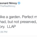 His final tweet... And its perfection. ???? #RIPLeonardNimoy http://t.co/Dmtbckijgn