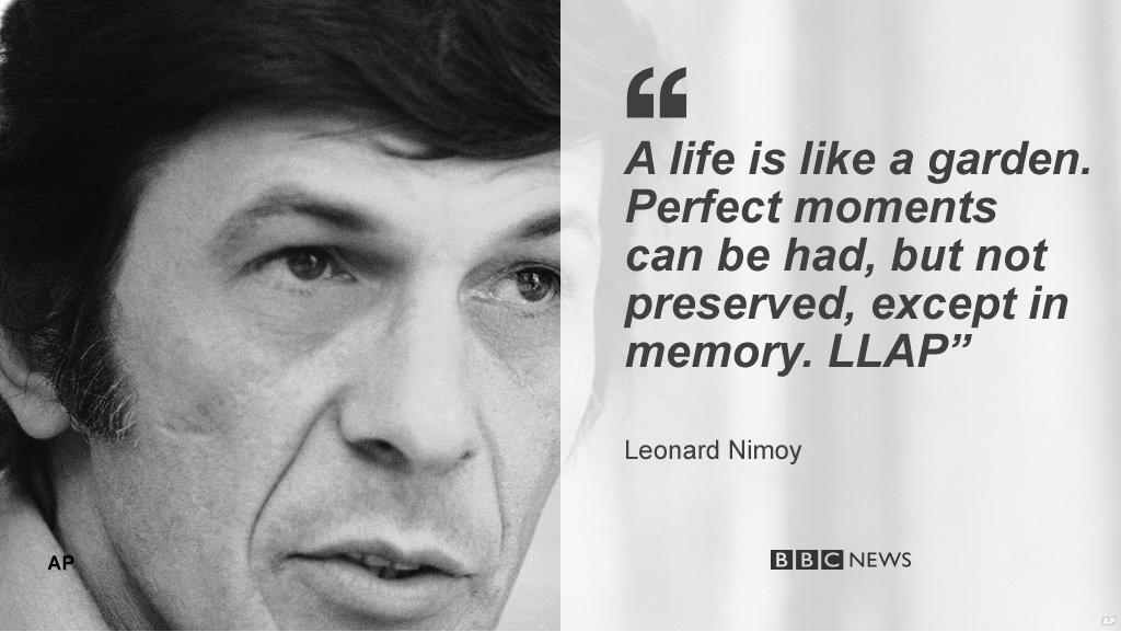 Leonard Nimoy's final tweet, signed off with Mr Spock's 'Live long and prosper' catchphrase http://t.co/iRksPZ9IBa