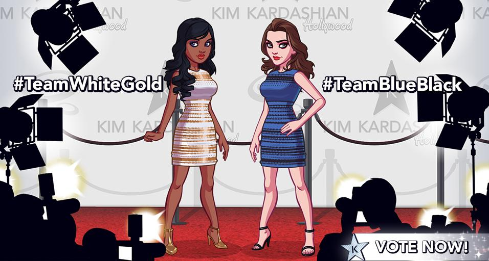 #TeamWhiteGold or #TeamBlueBlack? Vote for #TheDress you want to see in the #KimKardashianGame http://t.co/N0OvT2rPGe http://t.co/11Ty3G1LBZ