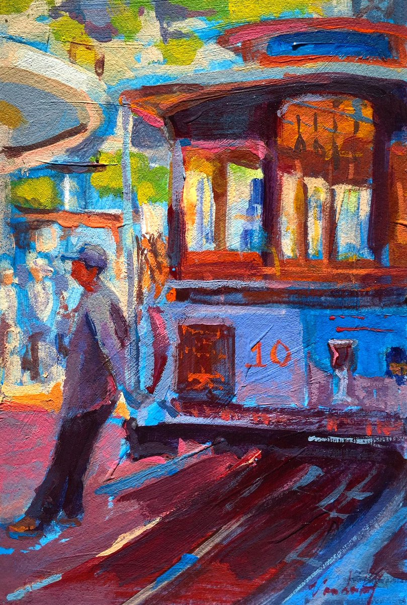 """Cable Car 10 at the Turnabout"" #SF #painting #twitterartexhibit http://t.co/uPj4gQI8U5"