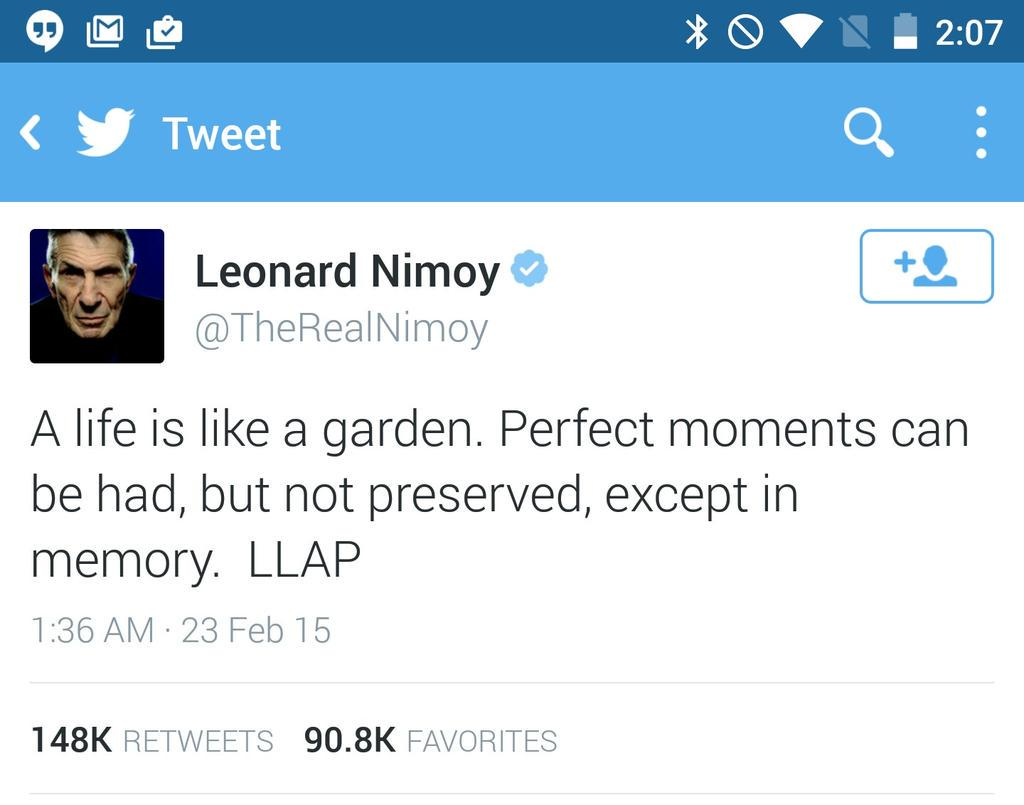 What a great tweet to go out on... LLAP #RIPSpock http://t.co/GDB75tdt6N