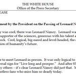 I loved Spock: President Obama on the passing of Leonard Nimoy http://t.co/65NbMNUHaW