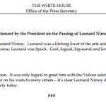 """President @BarackObama: """"I loved Spock."""" http://t.co/CDXkb9g808"""