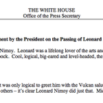 """""""I loved Spock."""" - the President of the United States of America. http://t.co/VDYo5SxNrk"""