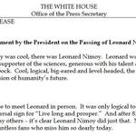 "Obama responds to Leonard Nimoys death: ""I loved Spock."" http://t.co/OLjcUSbUOX http://t.co/MnJgdIPNVQ"