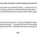 """Elegant & uplifting: """"@AustinHunt: """"I loved Spock,"""" says President Obama on the passing of Leonard Nimoy http://t.co/PZlREqzxYr"""""""