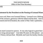 President @BarackObama joins fans saying farewell to Leonard Nimoy http://t.co/ynDd5uzdi7 #RIP http://t.co/mfSKQlXWAb