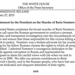 President Obama statement on murder of Russian opposition leader Boris Nemtsov http://t.co/EIOtkDVeNo