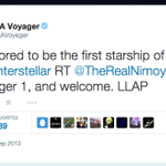Thank you for your kindness, @TheRealNimoy. I will continue to boldly go. #LLAP http://t.co/e6AVNjKdIt