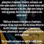 NASA releases statement on STAR TREK star Leonard Nimoys passing. #RIPLeonardNimoy http://t.co/8z2qiaIesh