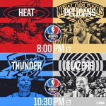 Tonight's @ESPNNBA action tips off at 8pm/et with @MiamiHEAT/@PelicansNBA, followed by @OKCThunder/@TrailBlazers!
