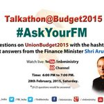 Talkathon on #Budget2015 with @FinMinIndia Minister Shri @arunjaitley @ 6pm.Ask your queries with Hashtag #AskYourFM http://t.co/j5ExfDMEPX