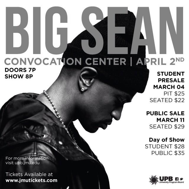 The BIG secret is out! @BigSean will be performing for the Spring 2015 Convo concert! @JMU #BigSean #Convo2015 #JMU http://t.co/GBgMQxBvTH