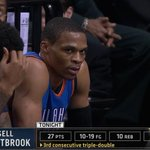 Russell Westbrook notches his 3rd straight triple-double. http://t.co/8o10RbiYZP