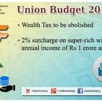 Wealth Tax; surcharge on super-rich: Shri @arunjaitley #बजट2015 #Budget2015  #SabkaBudget http://t.co/xohRl8tDRs