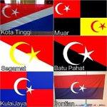 Inilah bendera rasmi setiap daerah di Johor. Hanya tinggal 4 bendera untuk mendapat perkenan DYMM Tuanku Sultan Johor http://t.co/3sAcU3UXWs