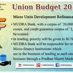 Key features of #UnionBudget2015- Micro Units Development Refinance Agency (MUDRA) #बजट2015 #Budget2015 #SabkaBudget http://t.co/zRjU1QJVK3