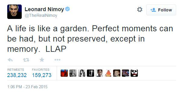 RIP #LeonardNimoy This is @TheRealNimoy's last tweet http://t.co/iGk8sCl5l8