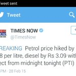 Petrol prices increase in India while PM Nawaz Sharif refused to increase the petrol prices. Yes Nawaz Yes ! http://t.co/gOypheQX2K