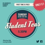 Student in #Leeds? Meet others for #StudentTeas @stgsstudents @stgscentre Sundays 5.30pm | £1 but FREE first time! http://t.co/qonb137GHO