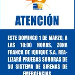 Atención! Mañana 1 de marzo, prueba sonora del sistema de sirenas de ZOFRI. #VamosTarapacá http://t.co/2CbGEr7dC2