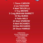 Three changes for #ctfc. What do you think of today's team? http://t.co/G6wfkIqZn9