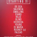 XI titular del #mufc: De Gea, Valencia, Smalling, Evans, Rojo, Blind, Herrera, Young, Di Maria, Rooney, Falcao. http://t.co/yc9d2lNLDC