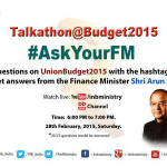 #AskYourFM talkathon with FM @arunjaitley from 6pm onwards today. #SabkaBudget http://t.co/CLCCjQx1dk