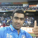 Here is the Player of the Match @ashwinravi99 rocking the #TwitterMirror #INDvUAE #cwc15 http://t.co/LGm0rQuJos