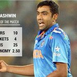 Ravichandra Ashwin wins Man of the Match award for his career best 25/4 #INDvsUAE http://t.co/1UNC5N6zRv