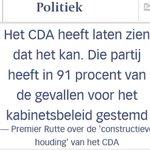 """Rutte: """"CDA in 91% vd gevallen met kabinet eens"""". Dus VVD PvdA D66 SGP CU, en CDA = 1 pot nat. http://t.co/y4nD580Nk9 http://t.co/dMytKt9zUd"""