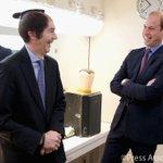 The Duke laughs as British Ambassador @UKAmbTim tries on a Samurai wig from the set of NHKs #Taiga drama http://t.co/3mSi1pCXAE