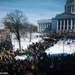 Huge crowd at the Wisconsin state Capitol right now for the protest against right to work. #wiunion #wrongforwi http://t.co/45qt7a8GHQ
