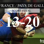 Le XV de France battu par le Pays de Galles (13-20) ! #FRAGAL #6nations2015 http://t.co/Nx6nZpmTI0
