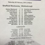TEAM NEWS: Official teamsheet for Owls v Boro #swfc http://t.co/9T1lSn83nP