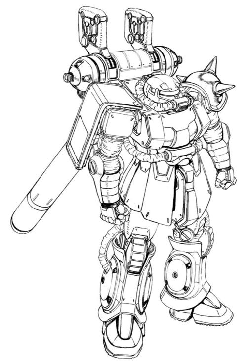 サンダーボルト版ザクII:MS-06 ザクIよりも大型のバックパックを装備し、そこに2基のサブアームとプロペラントタンク