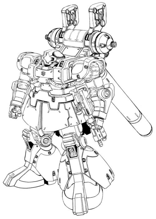 サンダーボルト版リック・ドム:MS-09R バックパックの形状はザクIIと共通。武装にヒートホークやマシンガンを使用する