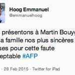 ????BOUYGUES Les excuses de @emmanuelhoog, PDG @afpfr, à Martin #Bouygues et à sa famille http://t.co/GSsIq3x3jw