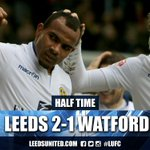 HT: We lead 2-1 at the break thanks to goals from Billy Sharp & Rudy Austin, Troy Deeney for the visitors. #lufc http://t.co/pDKtfJ5Ue5