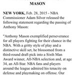 NBA Commissioner Adam Silver released the following statement regarding the passing of Anthony Mason http://t.co/8lBNRKEMVE