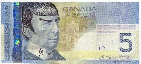 """Spock"" your $5 bills for Leonard Nimoy @WilliamShatner @GeorgeTakei http://t.co/Ezj57qVKZh"