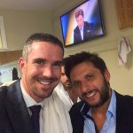 Happy Birthday Shahid Afridi. PHOTO: KP with Afridi, while Yuvi photo-bombing, before the #MCCvRoW match at Lords. http://t.co/d5ojTujAFf