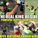 King of sharjah, Darling of crowd, King of sixes, Boom boom Happy birthday Shahid Khan Afridi @SAfridiOfficial http://t.co/rJr2L3T1oi