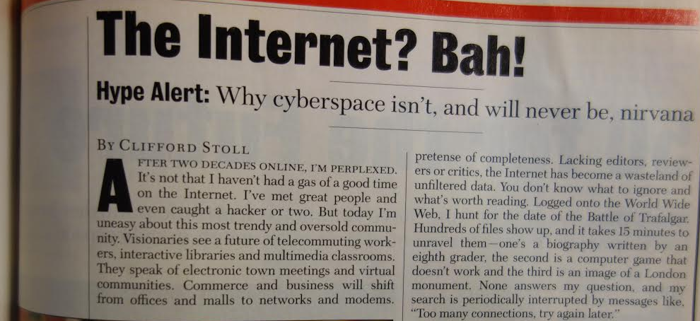 20 years ago this week, Newsweek published the wrongest column ever. http://t.co/ap8vtRnpIZ  #NewsweekRewind