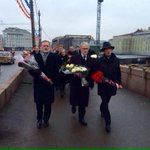#UK, #France, #Germany Ambassadors to Russia walking together to lay flowers at spot of #Nemtsovs murder. http://t.co/I3sMKwCIHp
