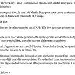 ???? BOUYGUES Note interne à l'AFP, signée de la directrice de l'information, après l'alerte erronée (via @libe) http://t.co/upmRBlIP3o